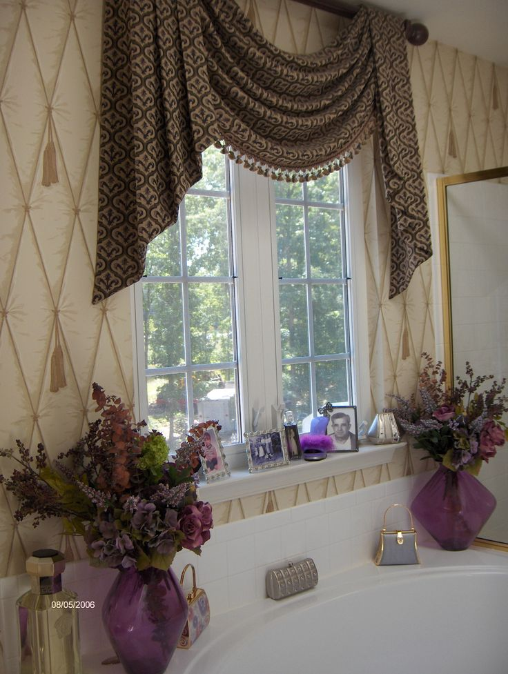 821 best images about swags cascades jabots on pinterest bay window treatments valance Bathroom valances for windows