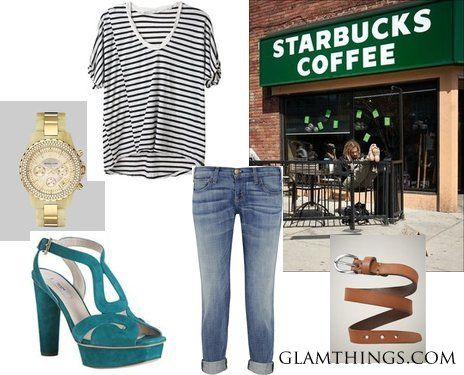 Cool Summer Casual    Your regular blues and greys can perfectly be mixed with a splash of turquoise  ~like this gorgeous shoes.
