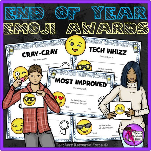 End of the Year Emoji Certificates. Need some fresh, new end of year awards certificates to celebrate the individuality and success of your young and teenage students? Get hold of these End Of Year Certificate Awards for Teens: Emoji Style!  These certificates are funky and edgy with some cool teen clip art images with a fun emoji theme that your students will really relate to and think you're the coolest ever! (Even though we know you already are!) | www.teachersresourceforce.com