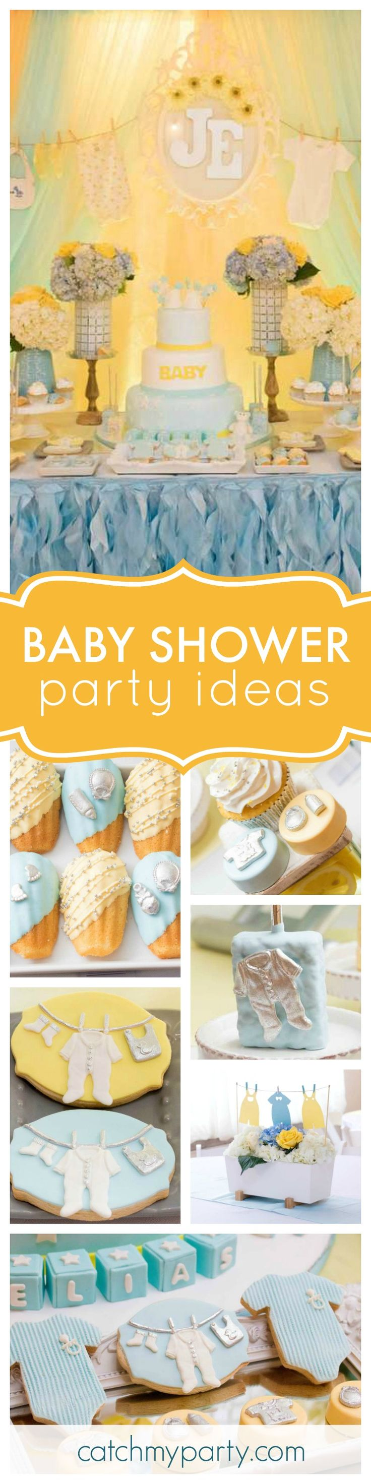 Check out this gorgeous Clothesline Baby Shower. The dessert table will blow your mind! See more party ideas and share yours at CatchMyParty.com