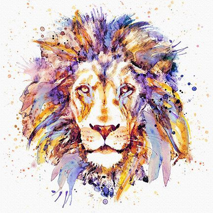 Lion head INSTANT DOWNLOAD Printable art Watercolor portrait Wall art Aquarelle Animal art Wildlife King of animals Big cats Lions Art gifts – Dustyn Dargatz