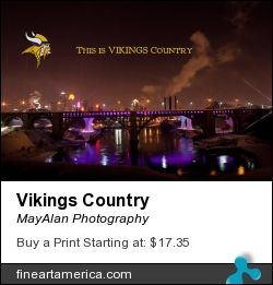 Football season is here... get your own Minnesota Viking themed nightscape print or canvas of Minneapolis, Minnesota where I35W bridge was lit up for a Green Bay Packer vs. Minnesota Viking football game. Available from fineartamerica.com