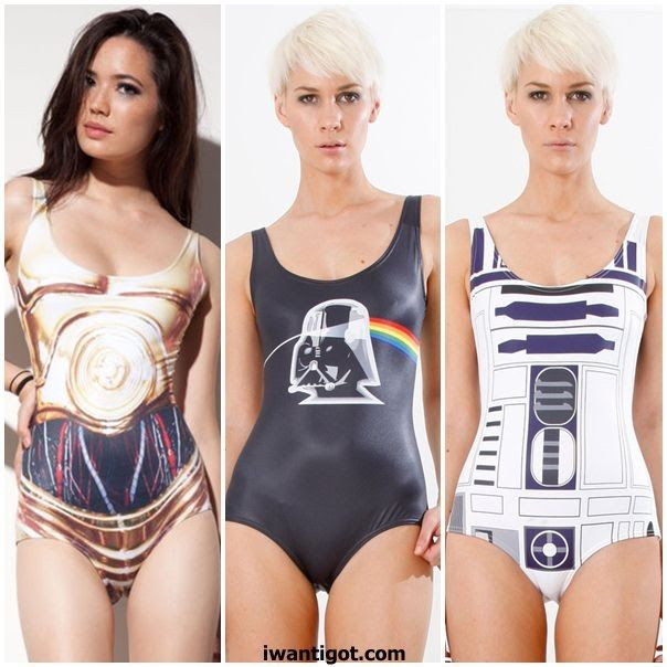 """OH MY! Star Wars Bikinis - C3P0, R2D2, and """"Dark Side of the Force""""  I would totally wear R2D2"""