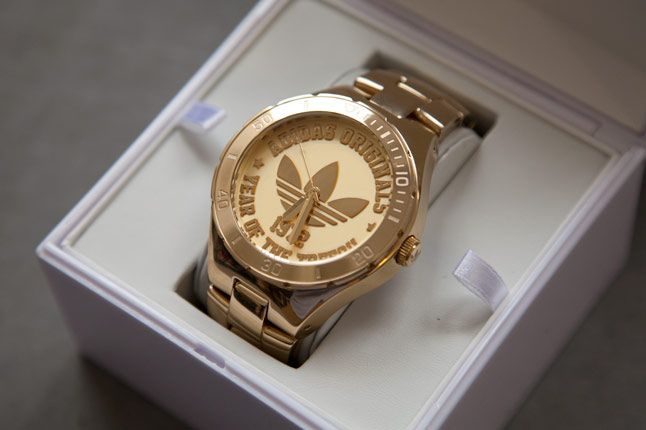 Adidas celebrates the 40th anniversary of the trefoil with a stunning gold watch. Limited to 500,   the watches will be available in  select  boutiques worldwide.