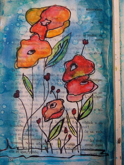 pretty: Watercolor Poppies, Mixed Media Paintings, Books Pages, Watercolor Flowers, Media Messages, Mixed Media Art, Colors Flowers, Media Watercolor, Art Journaling