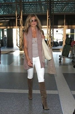 High Taupe Boots and White Jeans
