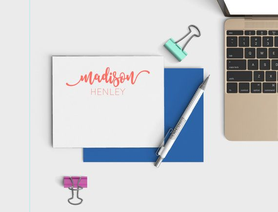 Personalized Stationery Set  by TheWhiteInvite on Etsy -- For the social worker who loves sending/receiving hand-written notes.