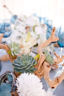 Beachside Chic Wedding design ~ Love the driftwood! ❤'d by wedfunapps.com via Beachside Wedding Bliss