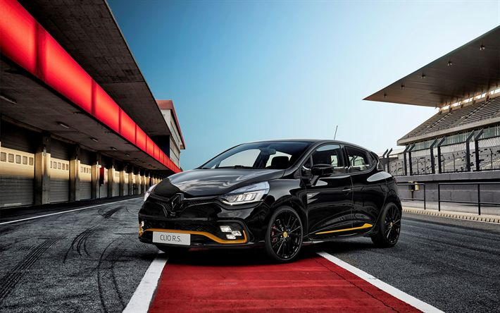Download wallpapers Renault Clio RS 18, 2018, black hatchback, tuning, racing version, black Clio, Renault