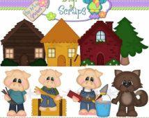 30 % OFF drei kleine Schweine Clip Art Set - Clipart Scrapbooking