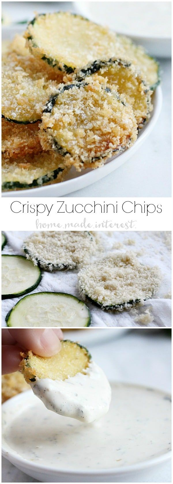 These homemade crispy zucchini chips are a copycat recipe for Maggiano's Zucchini Frittes. Thinly sliced zucchini dipped in batter and coated in Panko breadcrumbs, then fried until they are super crisp! Fried zucchini chips are amazing with a lemon aioli!