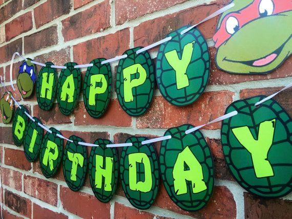 Ninja Turtle Happy Birthday Banner - Teenage Mutant Ninja Turtles Birthday…