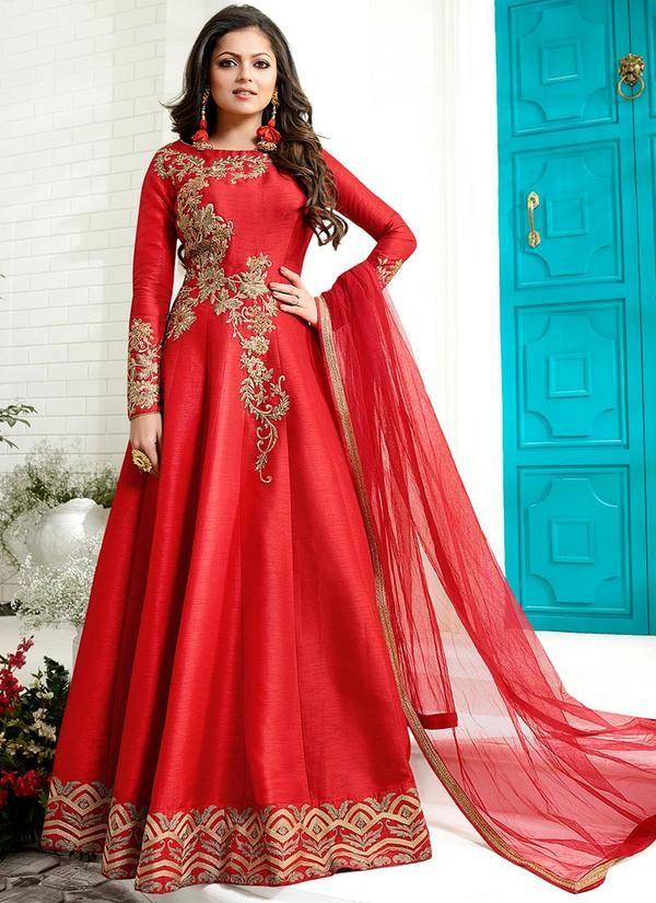 Red Embroidered Art Silk Anarkali