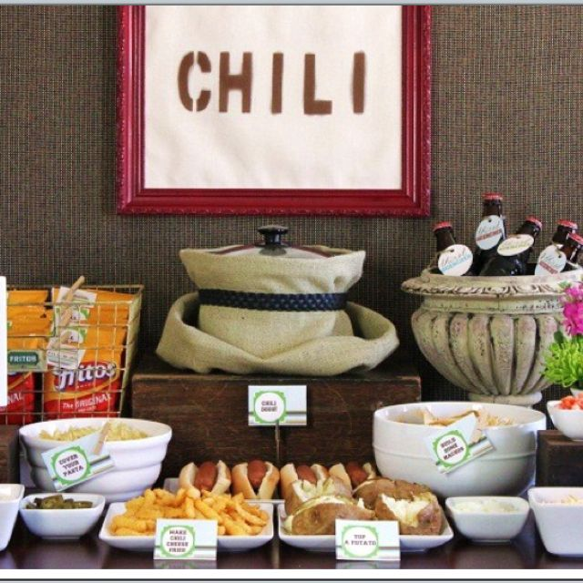 Pot of chili with burlap wrapped. Perfect setup for fall theme. Display with rolls/ritz crackers/ shredded cheese, etc.