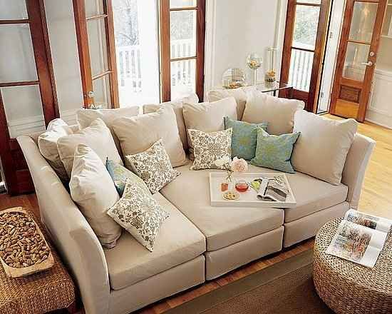 Really deep couch for cuddling and movie watching. Looks like it is made of three sectional peice. From Pottery Barn.