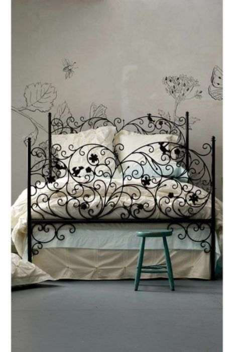 Bed frame and wall stencils.