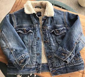GapKids Sherpa Denim Jacket Size Small Winter Coat Snap Buttons Distressed  | eBay