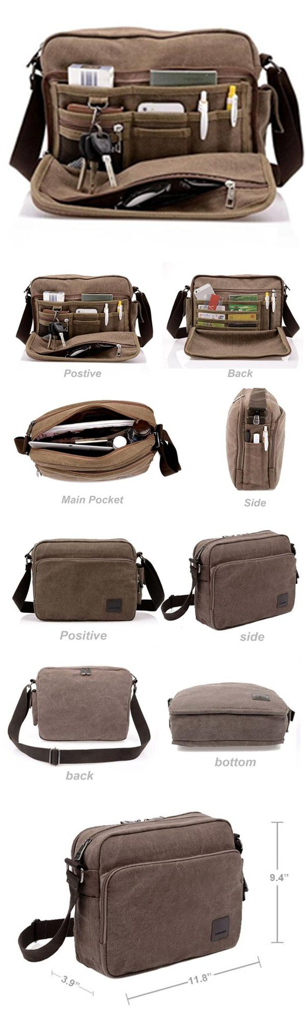 Multifunction Men Canvas Bag Casual Travel Bolsa Masculina Men's Crossbody Bag Men Messenger #Bags bagail.com Travel bags