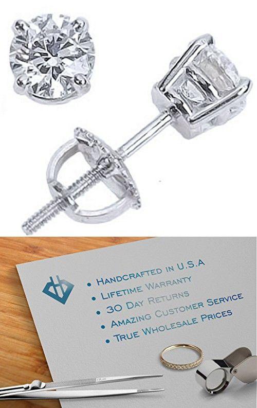 86b3ea20f 2/3 Carat Solitaire Diamond Stud Earrings Round Brilliant Shape 4 Prong  Screw Back (I-J Color, I2 Clarity)