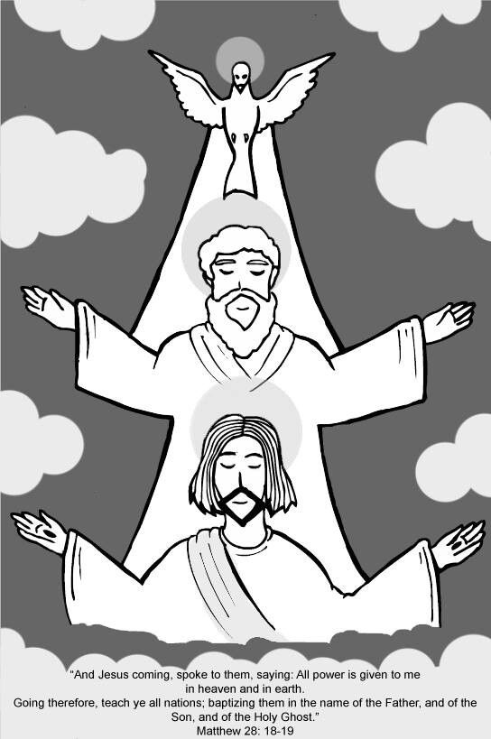 the holy trinity represented as fantabulous cartoons this is very pretty and i love jesus