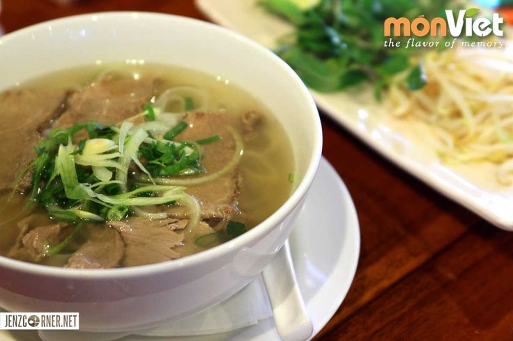 Pho tai chin (Vietnamese noodle soup served with freshly sliced beef and brisket)