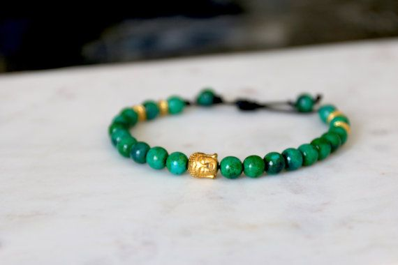 Men's Leather Green Azurite Bracelet with Gold by JazzyandCo