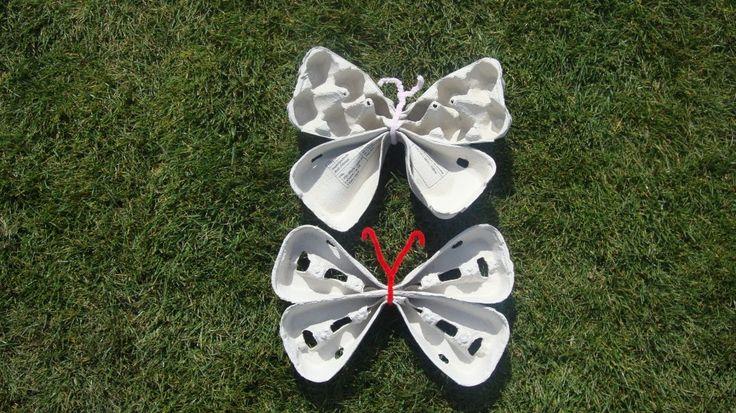 vlinders maken uit eierdozen