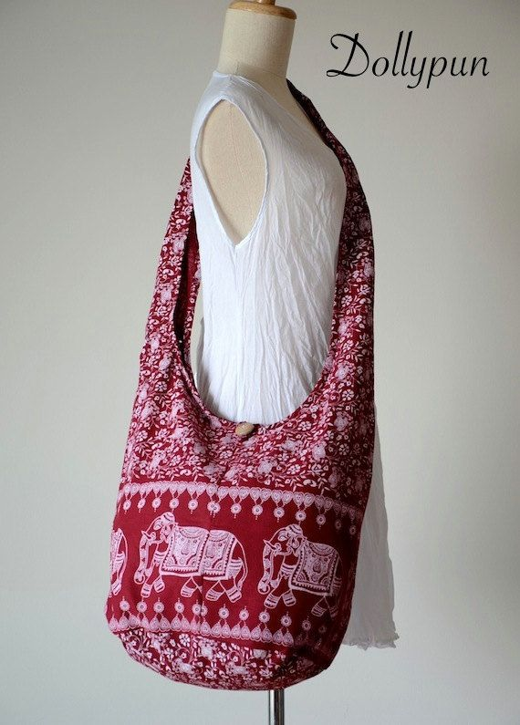 BURGUNDY  Indian Elephant Printed Cotton Bag Hippie door Dollypun, $8.98