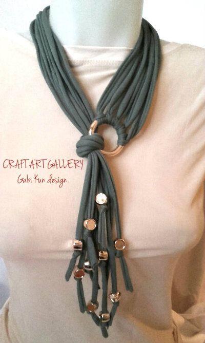 Necklace, t-shirt yarn https://www.facebook.com/Craft-Art-Gallery-444234632336667/