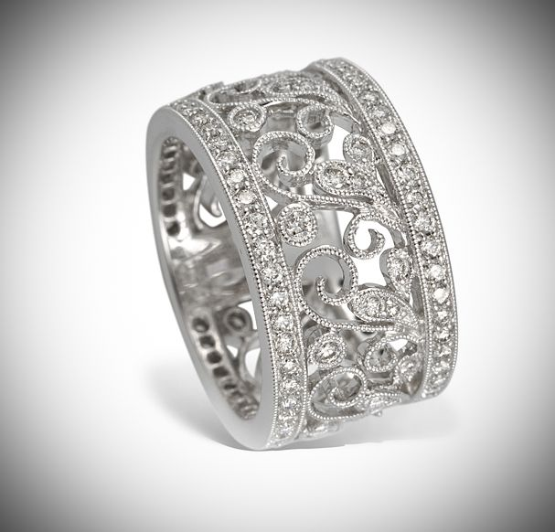 Beautiful Diamond Bands: Gregg Ruth 18 Karat White Gold Wide Flower Design Band Set