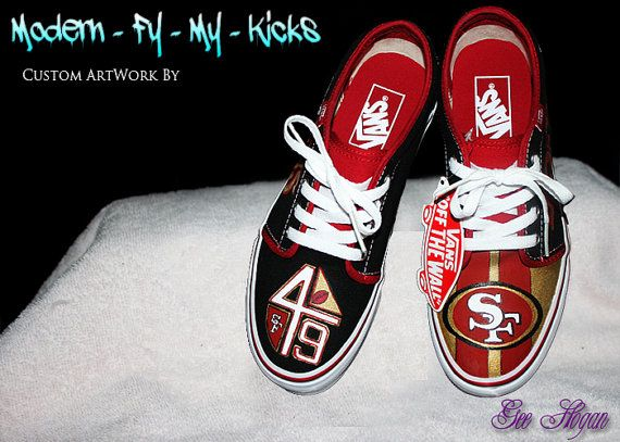 Custom Painted 49ers shoes by ModernFymyKicks on Etsy, $90.00