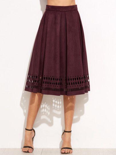 Burgundy Faux Suede Laser Cutout Midi Skirt