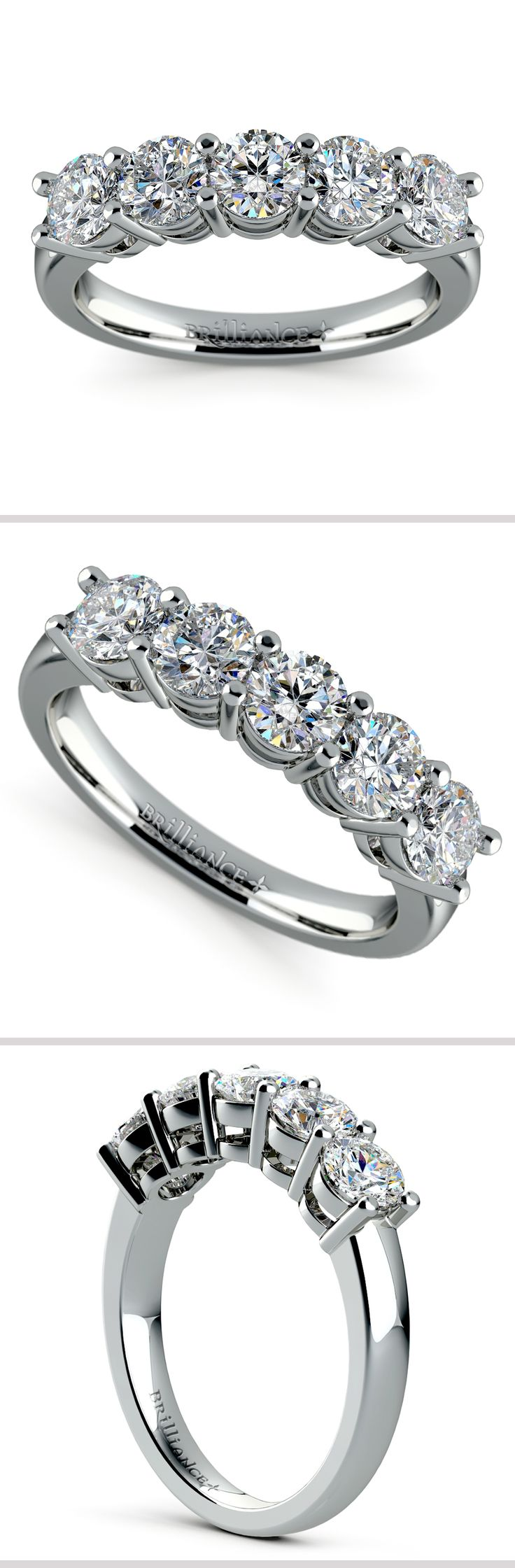This classic diamond wedding band in 14k or 18k white gold features 5 round cut diamonds in a shared prong, open gallery setting