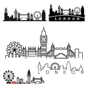 London Skyline with Different Landmarks like The Big Ben, The Tower Bridge, The Buckingham Palace and The Thames River Pack Cuttable Design Cut File. Vector, Clipart, Digital Scrapbooking Download, Available in JPEG, PDF, EPS, DXF and SVG. Works with Cricut, Design Space, Sure Cuts A Lot, Make the Cut!, Inkscape, CorelDraw, Adobe Illustrator, Silhouette Cameo, Brother ScanNCut and other compatible software.