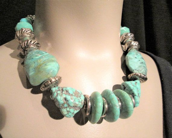 Chunky Turquoise Necklace Silver Big Bold Chunky Statement Acrylic Big Beads Funky Maxi Choker Unique Cruise Wear Summer Cocktail Dress
