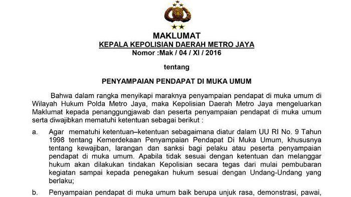 LBH Jakarta Minta Kapolda Metro Jaya Tarik Maklumat Terkait Aksi 212  JAKARTA (SALAM-ONLINE): Lembaga Bantuan Hukum (LBH) Jakarta mengingatkan bahwa dalam demonstrasi justru aparat keamananlah yang sering melakukan tindakan pelanggaran hukum.  Contoh nyata adalah tindakan pembubaran paksa demonstrasi buruh pada tanggal 30 Oktober 2015 serta menangkap 23 aktivis buruh 1 mahasiswa dan dua pengabdi bantuan hukum LBH Jakarta ungkap Direktur LBH Jakarta Alghiffari Aqsa SH dalam rilis yang…