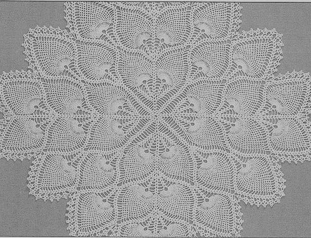 Totally Free Crochet Pattern Blog - Patterns: Square Pineapple Centerpiece or Tablecloth