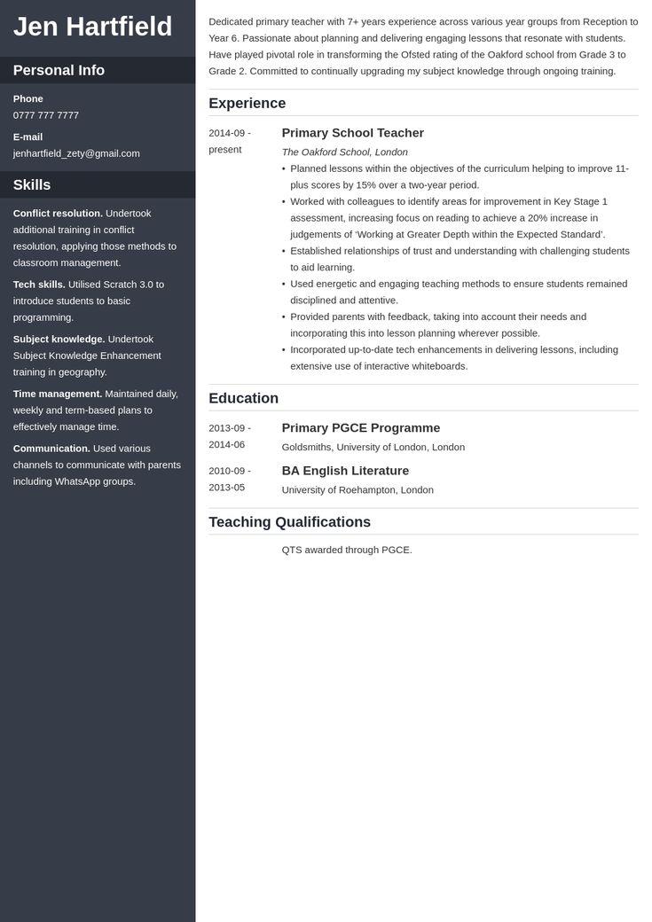 uk teacher cv example template cascade in 2020   Teacher ...