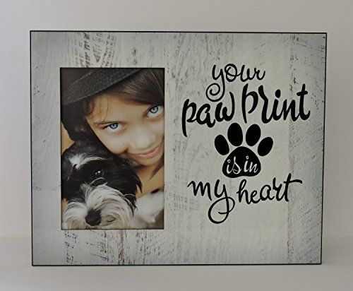 Dog Photo Frame Personalized Name- Your Paw Print Is In My Heart, Memorial White Weathered Design * To view further for this article, visit the image link.