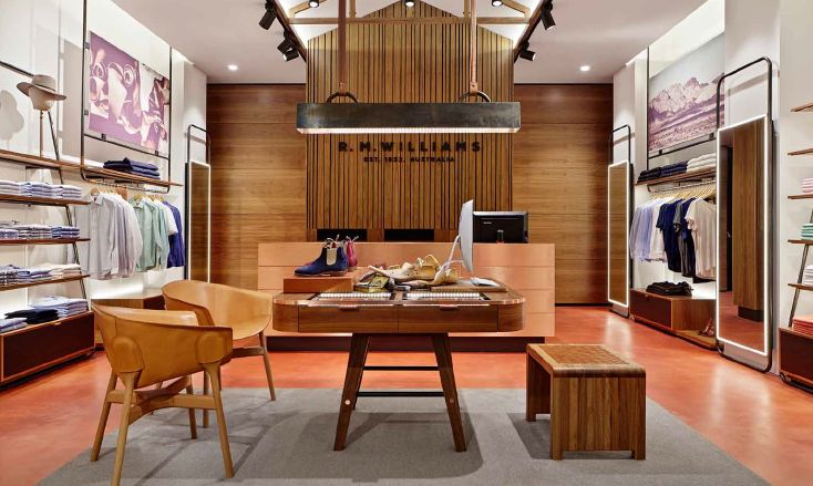 R.M. Williams Boutiques feature a two tone SEMCO seamless stone floor with a #custom red colour native to the Australian outback.Awesome #design
