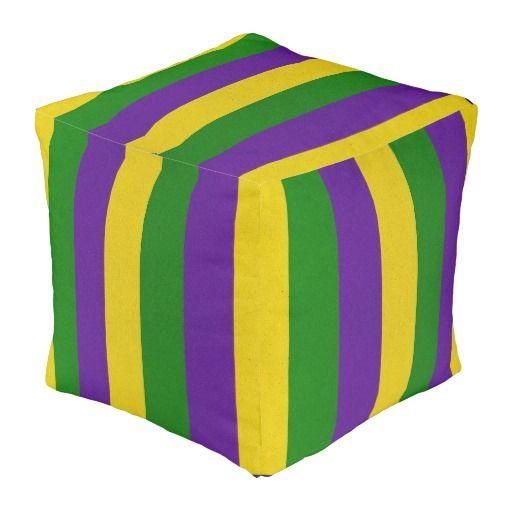 Mardi Gras Striped Pattern Pouf