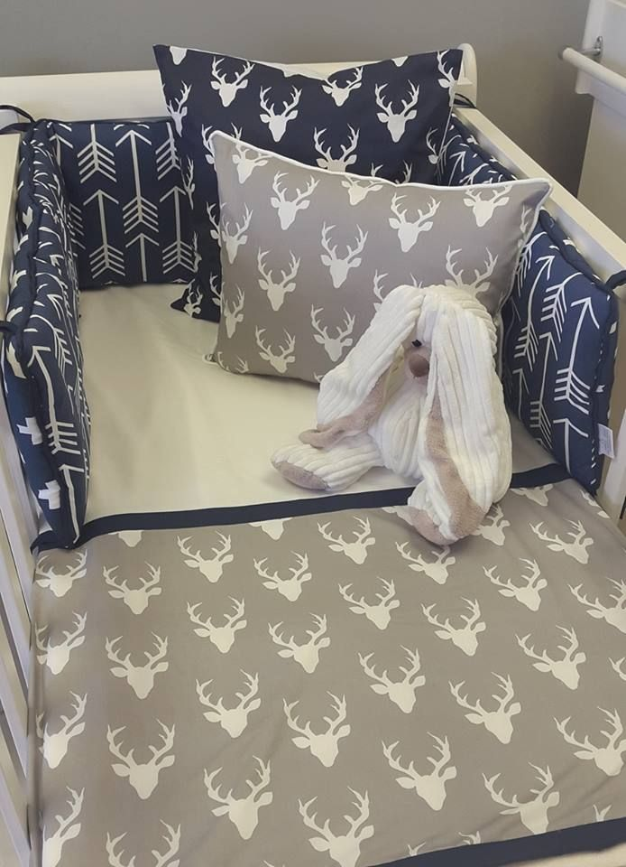 Our combination of #Navy and #Grey is perfect for any #BabyBoy's #WoodlandTheme nursery!  #BabyBedding #BabyLinen