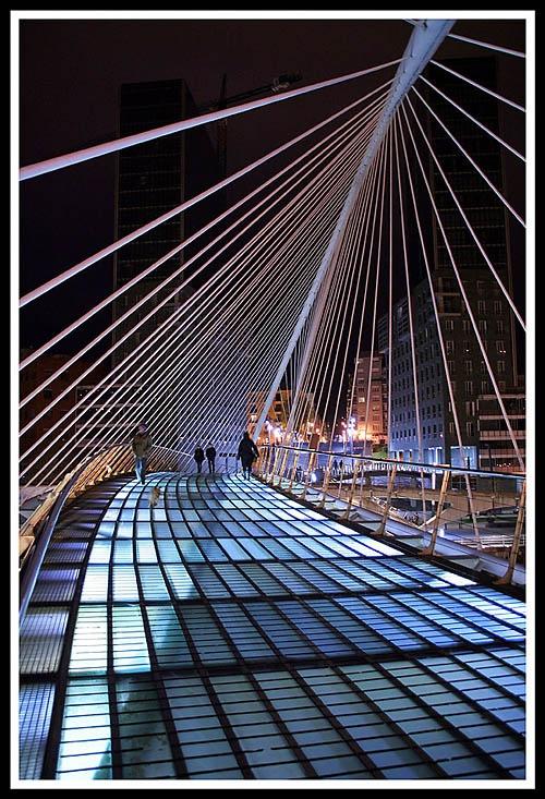 Basque Country, Bizkaia, Bilbao, Zubizuri Bridge at Night