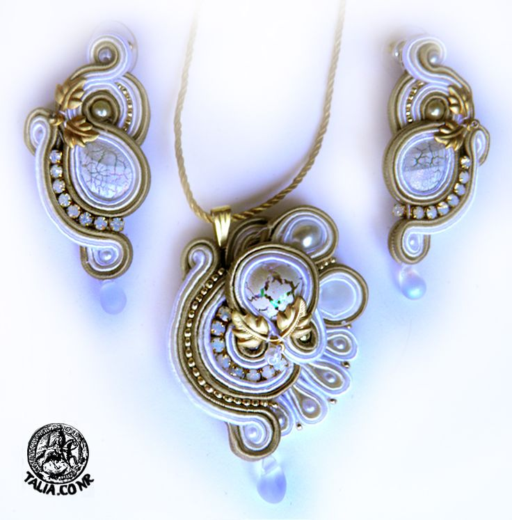 Pendant&earrings in White&Gold
