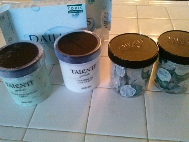 DID IT MYSELF.. i fealt like Martha Stewart..lol. Turned my yumanski Talenti gelato containers into contacts storage by cleaning them with hot water,dried them,then i used rubbing alcohol to take off the labels on the jar..and violá!
