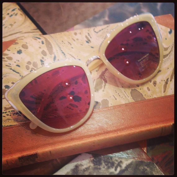Retro sunglasses: Jackie Kennedy style 60's beige. by FamousApe
