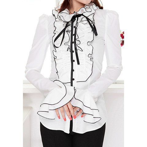 Vintage Ruffle Collar Block Color Long Sleeve Women's Shirt