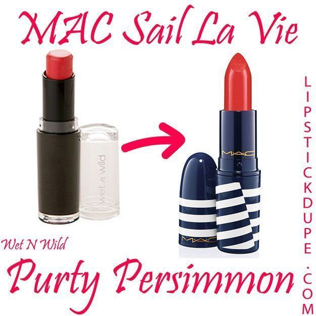 MAC Sail La Vie / Wet N Wild Purty Persimmon | MAC Lipstick Dupes We Can't Live Without, check it out at http://makeuptutorials.com/mac-lipstick-dupes-makeup-tutorials