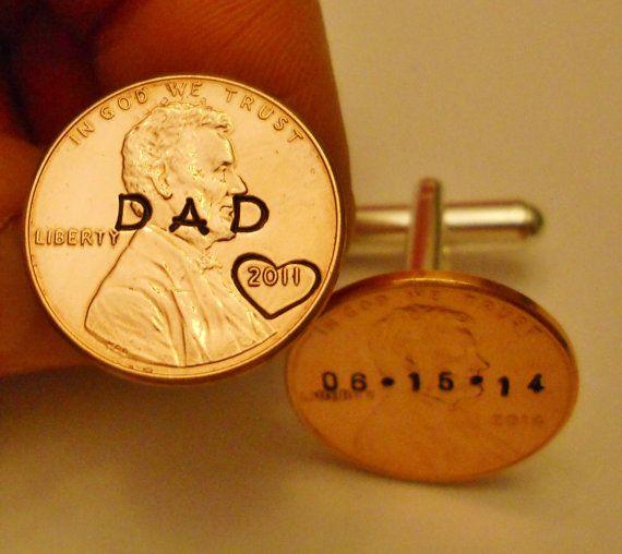 Custom DAD Cuff Links  Penny Initials / Dates / by AmySueCrafts