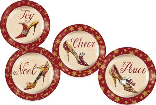 Dinnerware, Christmas Slippers,Round Dessert Plate ,Ceramic,8.25x8.25x1.25 Inches,Set of 4 by Cypress Home. $29.88